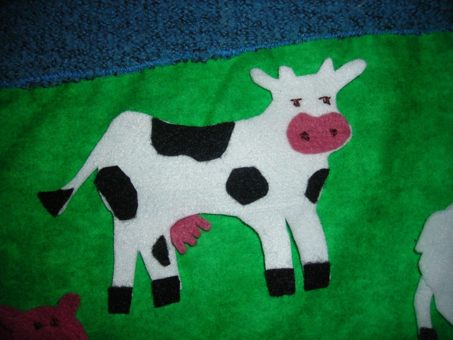 cow from felt board made for frined who also had a 3rd b-day recently.
